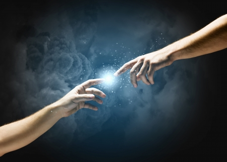 Close up of human hands touching with fingers Stock Photo - 24737088