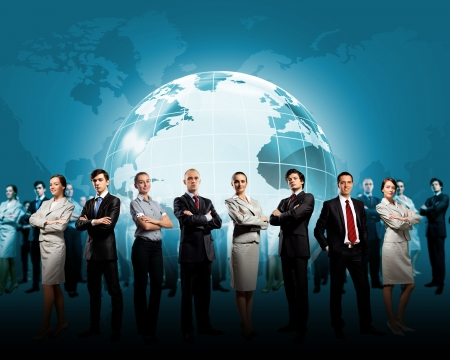 global  map: Group of successful confident businesspeople  Globalization concept