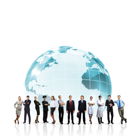 自信を持って成功した実業家をグローバル化の概念のグループ 写真素材