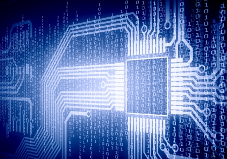 Background image of micro circuit with binary code Stock Photo