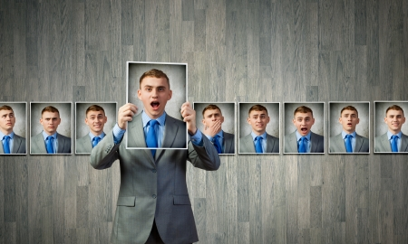 composite image: Young handsome businessman expressing different state of mood