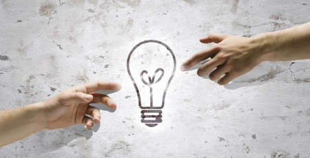 intelligent partnership: People s interaction and creativity  Having new ideas and inspiration Stock Photo