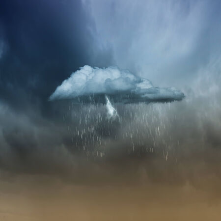 raincloud: Background image of cloudy sky with lightning and rain Stock Photo