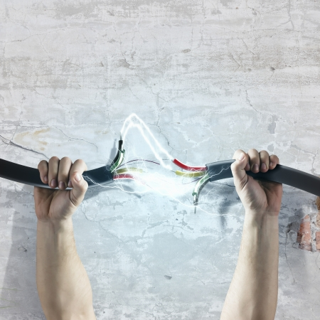 Cable in human hand  Power and connection