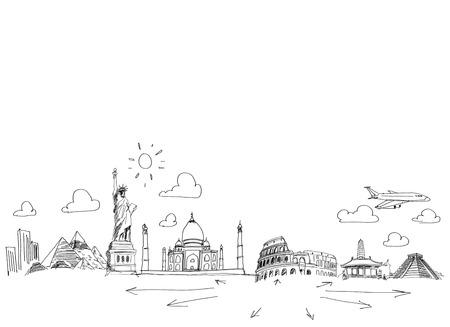 Imagen Bosquejo de fondo con dibujos Concepto de viajes