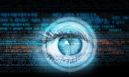 Digital image of woman s eye  Security concept Zdjęcie Seryjne