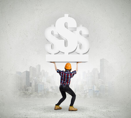 cost estimate: Image of young woman holding dollar symbols Stock Photo
