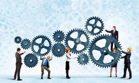 partnership power: Conceptual image of businessteam working cohesively  Interaction and unity