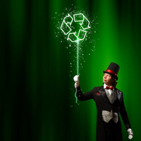 Image of man magician against color background  Recycle concept photo