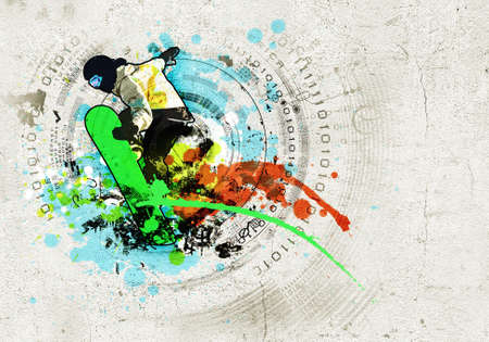 Graffiti style image of snowboarder against grunge background photo