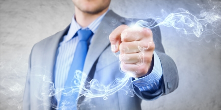 fume: Close up image of businessman clenching fume in fist