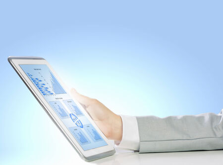 Close up image of human hand holding tablet pc Stock Photo - 25005712