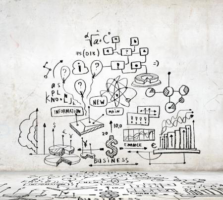 ビジネス アイデア図とグラフ イメージ スケッチ