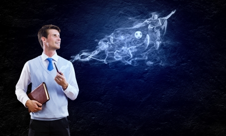 Conceptual image of young handsome man smoking pipe photo