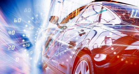 판매 살롱에서 자동차의 후면보기 스톡 콘텐츠