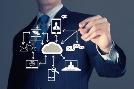 infrastructure: Image of businessman drawing business plan  Computing concept