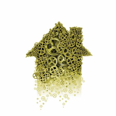 Abstract image of house made of gears photo