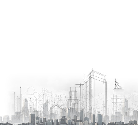 bocetos de personas: imagen con dibujos de ciudad moderna