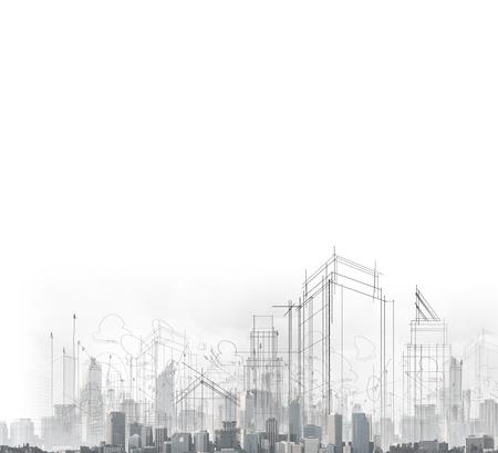 cantieri edili: immagine con disegni di citt� moderna Archivio Fotografico
