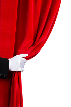 white curtain: Close up of hand in white glove open the curtain  Place for text