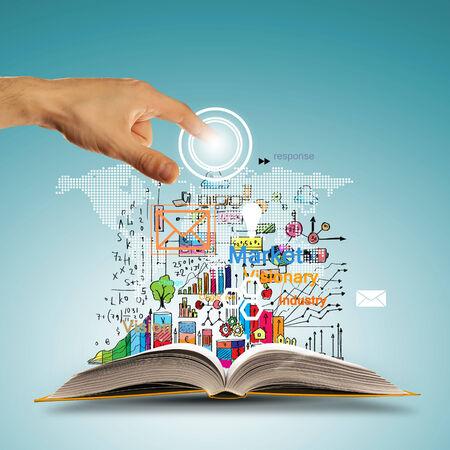 Libro abierto con iconos de concepto de negocio y la elección de la toma de la mano Foto de archivo - 25081389