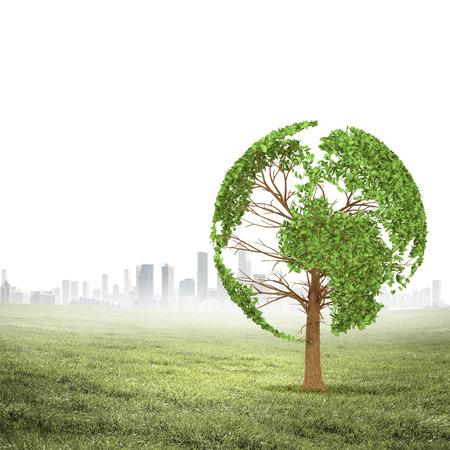 Groene boom vormige vonden onze planeet Aarde Milieu concept