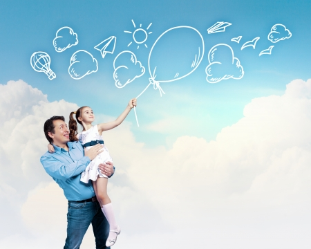 Image of happy father holding on hands daughter  Collage Stock Photo