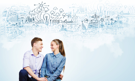 dating strategy: Conceptual image of young couple hugging each other and dreaming