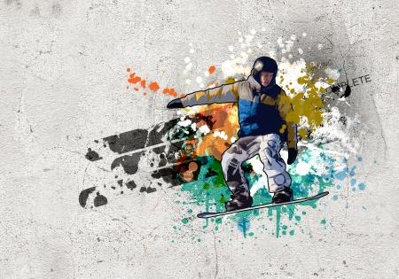Graffiti style image of snowboarder against grunge background Stock Photo