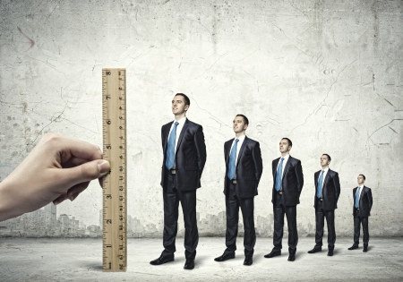 corporate ladder: Successful confident businessmen standing in line  Progress in career Stock Photo