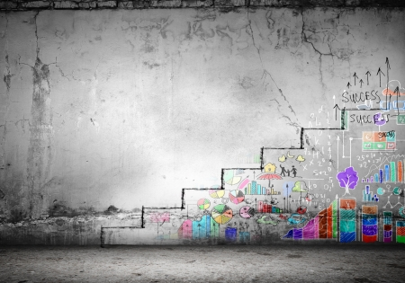 corporate ladder: Background image of ladder of success drawn on wall Stock Photo