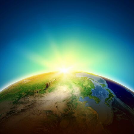 Sun rising above Earth planet  Conceptual photo  Elements of this image are furnished by NASA Stock Photo - 25087296