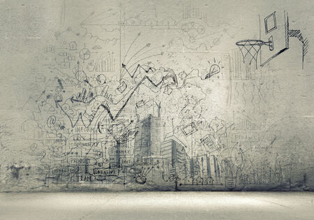 urban: Background image with sketches and drawings on grey wall Stock Photo