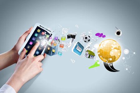 web portal: Close up of human hand holding smart phone