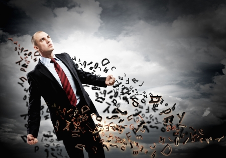 Image of young businessman in anger against illustration