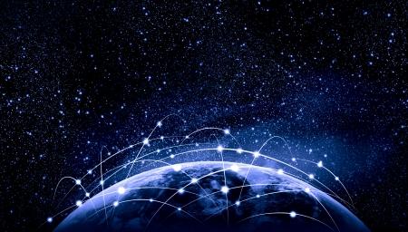 Blue levendig beeld van globe Globalisering begrip