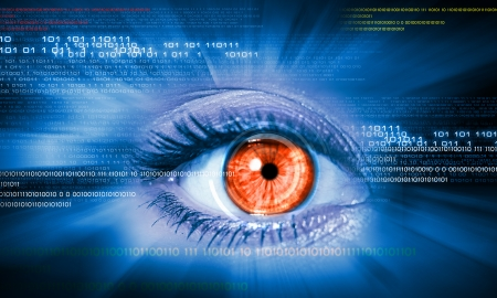 Close-up high-tech image of human eye  Technology concept