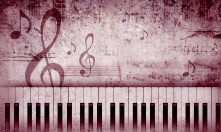 Conceptual image with piano keys and music clef Imagens