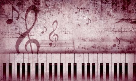 Image conceptuelle avec les touches du piano et la clef de musique Banque d'images