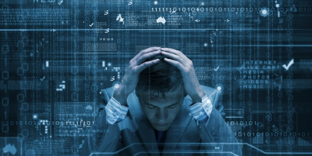 self exam: Conceptual image of troubled man against media screen with binary code