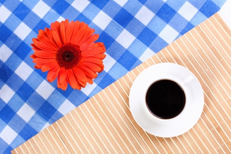 caf: Continental breakfast with a cup of black coffee Stock Photo