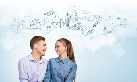 romance strategies: Conceptual image of young couple hugging each other and dreaming