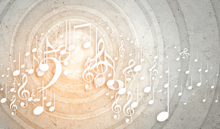 음악 음자리표 및 메모 개념적 배경 이미지