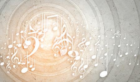 Conceptueel beeld achtergrond met muziek sleutel en nota's Stockfoto