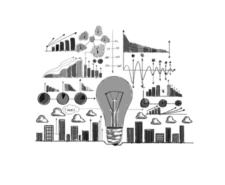 Background image with business strategy drawings  Marketing idea photo