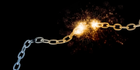 Conceptual image with steel broken chain in lights photo