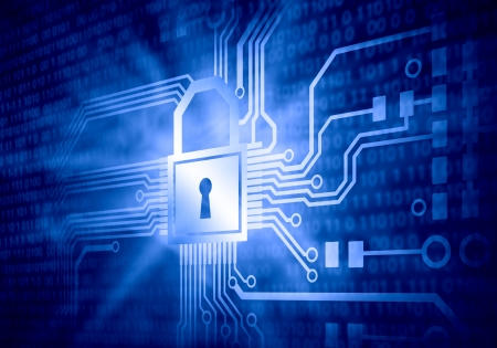 computer security: Background image of micro circuit with binary code Stock Photo