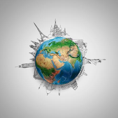 Planeta Tierra en gris con dibujos a lápiz