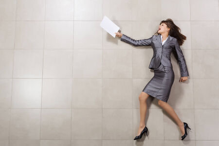 haste: Funny image of businesswoman running with documents in hand