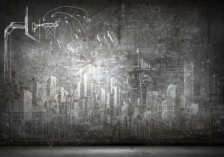 basketball hoop: Background image with sketches on black wall Stock Photo